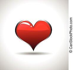 cuore, vettore, icona