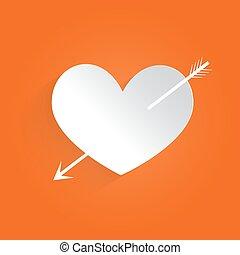cuore, vettore, illustrazione, arrow.