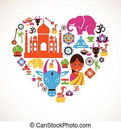 cuore, vettore, india, icone