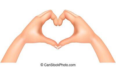 cuore, vettore, isolato, mani
