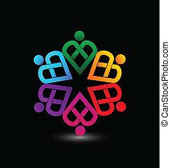 cuore, vettore, lavoro squadra, logotipo
