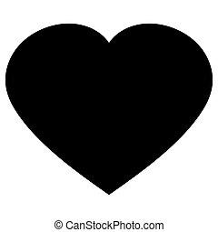 cuore, vettore, nero, illustration., icona