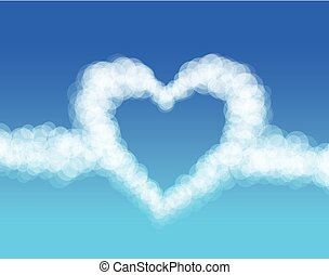 cuore, vettore, nubi, fondo., cielo