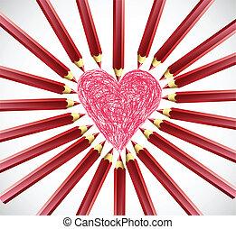 cuore, vettore, pencils., rosso
