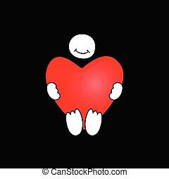 cuore, vettore, presa a terra, rosso, icona