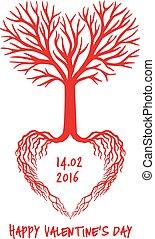 cuore, vettore, rosso, albero