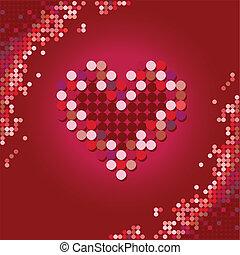 cuore, vettore, rosso, halftone