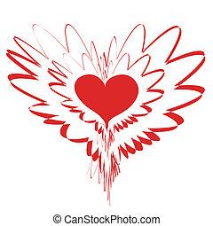 cuore, vettore, -, rosso