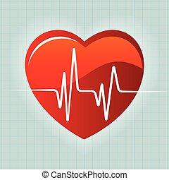 cuore, vettore, sfondo rosso, battito cardiaco