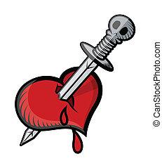 cuore, vettore, spada, tatuaggio