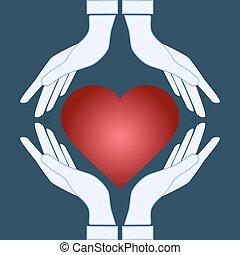 cuore, -, vettore, tenere mani, icona