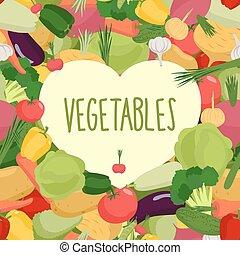 cuore, vettore, vegetables., illustrazione, fresco