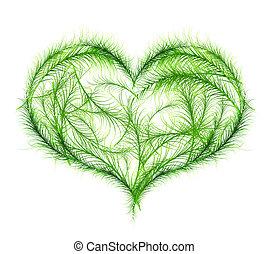 cuore, vettore, verde, illustrazione