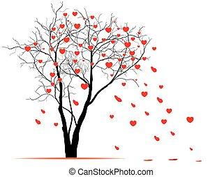 cuore, vettore, wind., soffiato, foglie, modellato, albero, valentina, albero., giorno