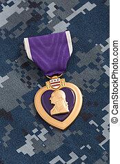 cuore, viola, materiale, camuffamento, marina, medaglia, guerra