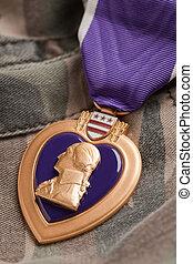 cuore, viola, materiale, camuffamento, medaglia, guerra