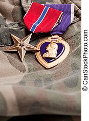 cuore, viola, materiale, camuffamento, medaglie, bronzo