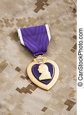 cuore, viola, medaglia, materiale, camuffamento, marino, guerra