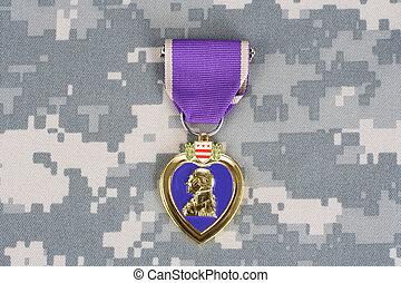 cuore viola, premio, camuffamento, uniforme