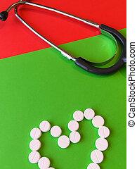 cuore, vita, o, assistance., spazio, sano, cima, text., assicurazione, medico, forma, stetoscopio, fondo, verde, concept., cardiological, pillole, rosso, vista
