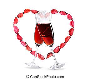cuore, wineglasses, dentro, forma, vino rosso