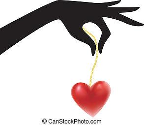 cuore, womans, silhouette, mano
