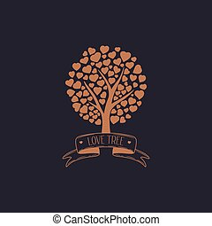 cuori, albero, famiglia
