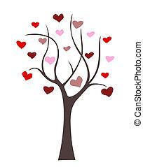 cuori, astratto, albero, simbolo