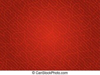 cuori, astratto, sfondo rosso