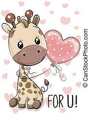 cuori, balloon, giraffa, fondo
