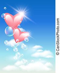 cuori, bolle, cielo