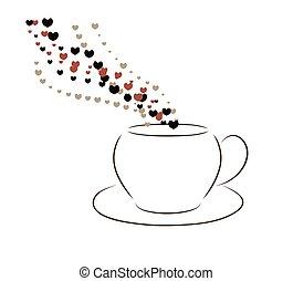 cuori, caffè