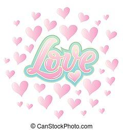 cuori, calligrafia, amore