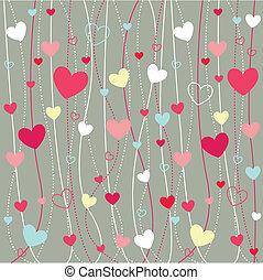 cuori, carta da parati, icone, valentine