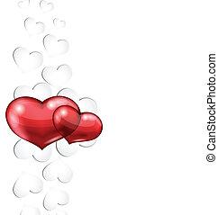cuori, carta, giorno, fondo, valentine