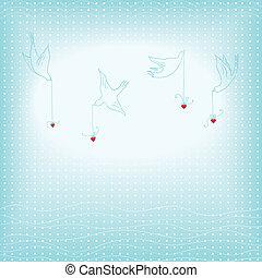 cuori, colombe, fondo