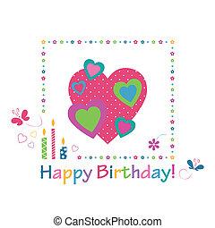 cuori, compleanno, colorito, scheda, felice