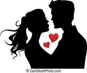 cuori, coppia, silhouette, bacio