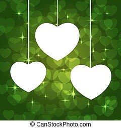 cuori, cornice, verde
