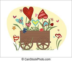 cuori, fiori, giardino, carrello