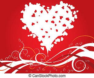 cuori, fiori, giorno valentines, fondo