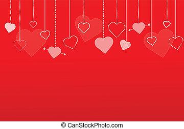 cuori, fondo, illustrazione, rosso