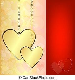 cuori, fondo, oro, valentina