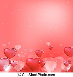 cuori, fondo, rosa