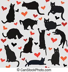 cuori, gatti, nero, seamless, fondo