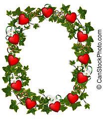 cuori, ghirlanda, bordo, edera, valentina
