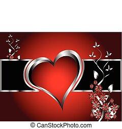 cuori, giorno valentines, fondo, rosso
