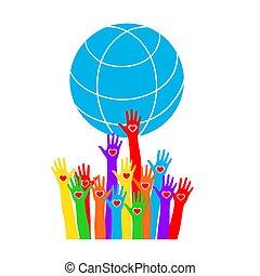 cuori, globe., colorato, tenere mani
