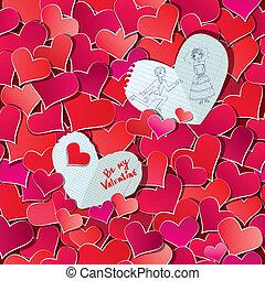 cuori, illustration., valentine, modello, matrimonio, seamless, due, fondo., carta, rosso, grande, coriandoli, disegnato, mano, o, giorno