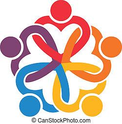 cuori, interlacciato, gruppo, 6., persone